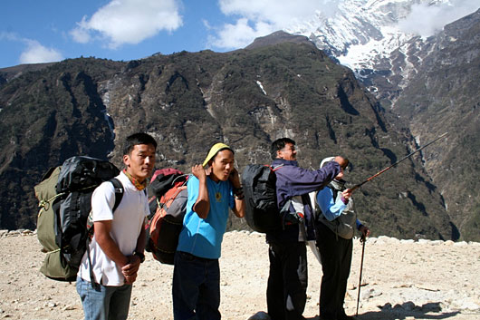 Sherpas are both guides and porters