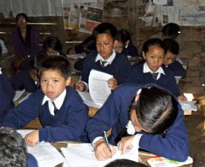 Nepali class taking exam